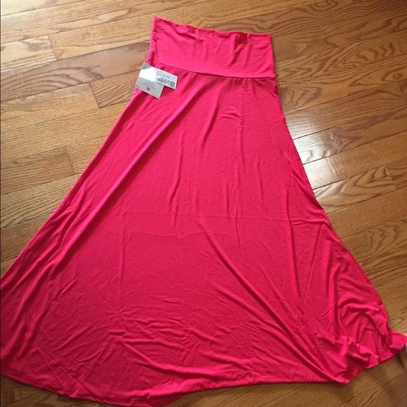 Bright coral red LuLaRoe Maxi skirt!